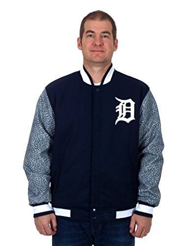 Detroit Tigers Wool & Nylon Reversible Jacket with Elephant Print Sleeves (2X) - Detroit Tigers Hooded Pullover Jacket