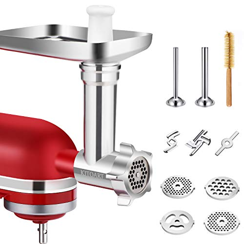 Metal Food Meat Grinder Attachments for KitchenAid Stand Mixers, KITOART Meat Grinder Attachment Compatible with KitchenAid Stand Mixers, including Sausage Stuffing Accessory, Cleaning Brush [ Newly Designed ] (The Best Meat Grinder)