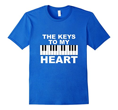 Piano Shirt | Funny Valentines Day Shirt for Piano Lovers - Male Medium - Royal Blue