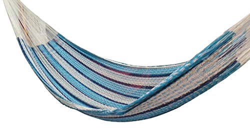 Large, MATRIMONIAL Mayan Hammock (#5) Oceano - Beautiful TRUE cotton Mayan hammock. LARGE SIZE (5M) (Matrimonial or Queen size) Approximate size: 13.12' X 5.6', Weight 2.75lbs, Hold 550lbs Bed made with most comfortable cotton, string made of Polypropylene for more strength - patio-furniture, patio, hammocks - 41R3X7AgkcL -
