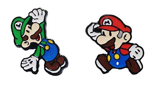 Mario & Luigi Characters Metal Enamel Stud - Earrings Super Mario