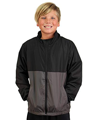 Global Lightweight Hooded Windbreaker Rain Jacket Water Resistant Shell (Large, Black/Graphite)