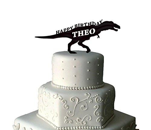 Dinosaurier Tortenaufsatz | Personalisierte Dinosaurier Birthday Cake Topper | Dinosaurier Tortenaufsatz, für Geburtstag Kuchen | Dinosaurier Kuchen | babyrosa