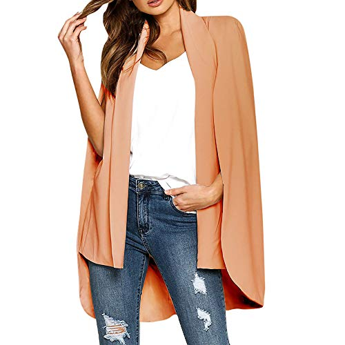 aliveGOT Women's Lapel Split Long Sleeve Blazer Solid Cape Jacket Coat Open Front Cape Trench Duster Coat Longline Blazer (XL, Orange) by aliveGOT