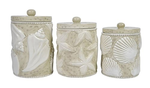 Shells Sand And White 11, 9, 8 Inch Ceramic Food Storage Canisters Set of 3