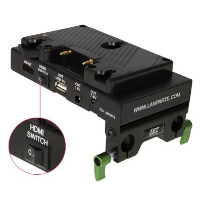 Lanparte Battery Back Pack Plate Adapter Power Supply Pinch With Internal HDMI Splitter for Anton Bauer shoe A Mount Lock Gold Mount Battery External / for DSLR Camera Video Light by Lanparte