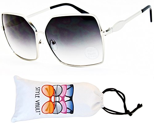 60s 70s Fashion (WM506-vp Butterfly Cateye Oversized Sunglasses (S1812V Silver-Smoked, UV400))
