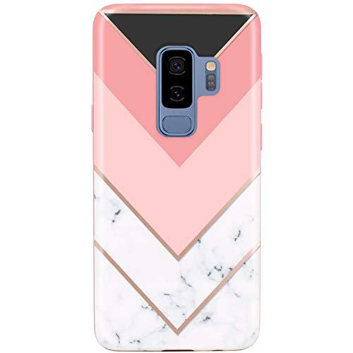 - JIAXIUFEN Galaxy S9 Plus (S9+) Case Geometric Pink White Marble Design Flexible Bumper TPU Soft Rubber Silicone Cover Phone Case for Samsung Galaxy S9 Plus (S9+)