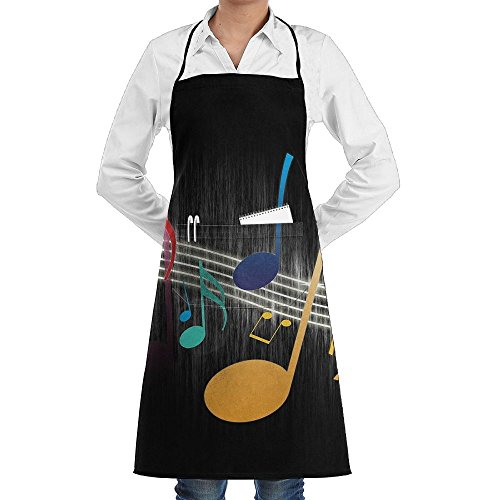 (Color Music Notes Sewing Aprons With Pocket Kits Adjustable Home Kitchen)