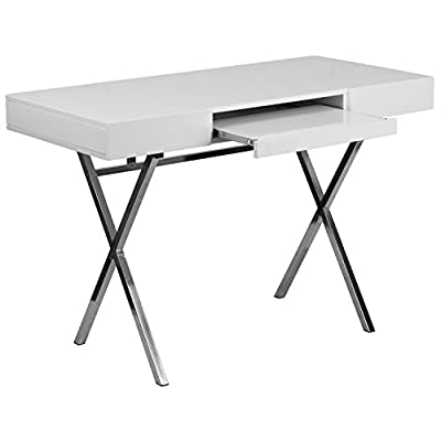 Flash Furniture 44.25''W x 21.625''D White Computer Desk with Keyboard Tray and Drawers - Contemporary Style Glossy White Laminate Finish Spacious Rectangular Desktop - writing-desks, living-room-furniture, living-room - 41R3ZEqplxL. SS400  -