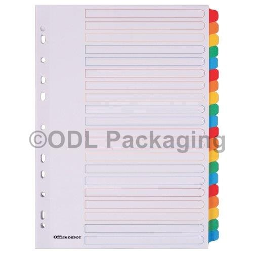 20 Part Mylar Tab Colour Dividers Set of 5 Office Depot