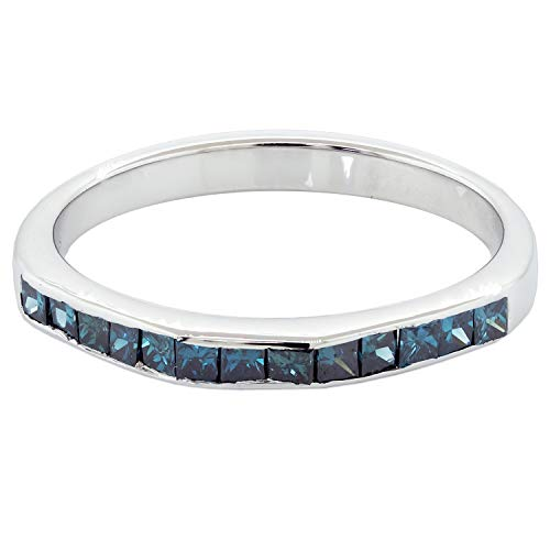 (Jewelry for Women JewelWeSell 10K White Gold Wedding Band Ring For Women 0.5 Cttw Natural Blue Diamond (SI2-I1 Clarity) Princess Cut Bridal Stacking Size 7)