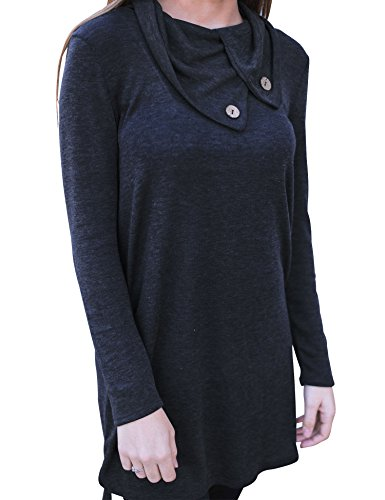 Dress Lapel Shirt Womens Sleeve Long Roaays M Loose Neck Black Dress x7wIFqt7R