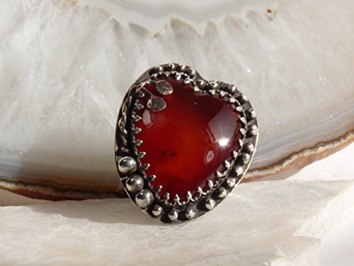 Handmade Sterling Silver Red Carnelian Heart Ring Size 9 1/2 Freeform Heart Ring