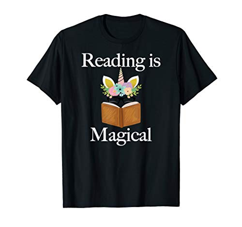 (Reading is Magical T-Shirt Unicorn Face Book Lovers Gift)