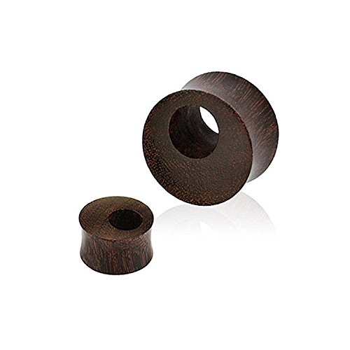 Inspiration Dezigns Tamarind Wood Offset Eyelet Tunnel Double Flared Saddle Organic Plugs (Sold as a Pair) (1/2