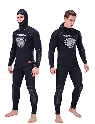 - Nataly Osmann Men 5mm SCR Neoprene Spearfishing Wetsuit 2-Pieces Scuba Diving Suit Hoodie Snorkeling Suits