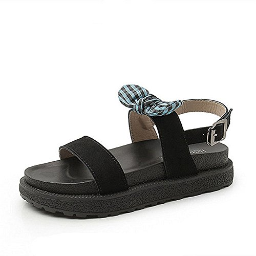 Cybling Womens Comfort Open Toe Ankle Strap Platform Wedge Bowknot Sandals