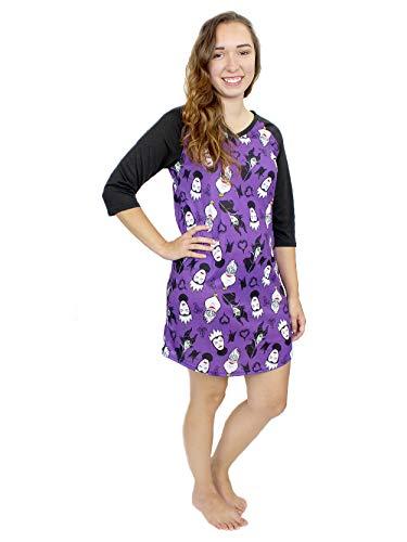 Disney Villains Women's 3/4 Sleeve Dorm Nightgown Pajamas (X-Large, Black/Purple) -