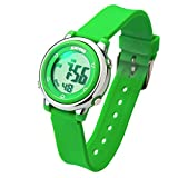 Better line Digital Kids Watch Band with Hourly Chime, Stopwatch, Daily Alarm & Calendar, Water Resistant 30M (Green)