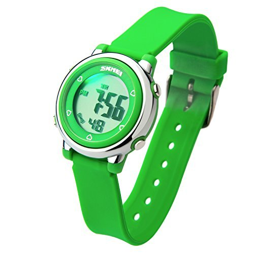 Better line Digital Kids Watch Band with Hourly Chime, Stopwatch, Daily Alarm & Calendar, Water Resistant 30M (Green) by BETTERLINE