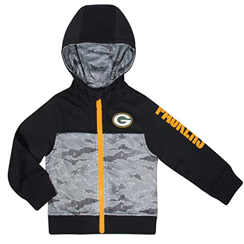 NFL Green Bay Packers Unisex Hooded Jacket, Black, 2T