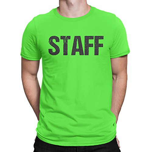 NYC FACTORY Neon Green Staff T-Shirt Front & Back Print Mens Event Shirt Tee (XL)