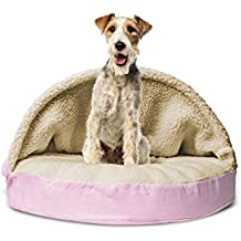 1 Piece Pink Orthopedic Large 35 Inches Snuggery Burrow Comfort Pet Bed, Light Pink Color Ortho Dog Foam Mattress Bedding Zippered Removable Cover Hood Flexible Hoop, Faux Sheepskin Durable Polyester