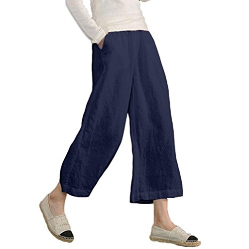 Pervobs Women Pants, Clearance! Women's Causal Loose Elastic Waist Cropped Wide Leg Ankle-Length Pants Trousers (M, Navy)
