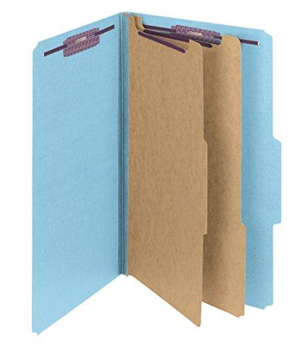 Smead Pressboard Classification Folder with SafeSHIELD Fasteners, 2 Dividers, 2