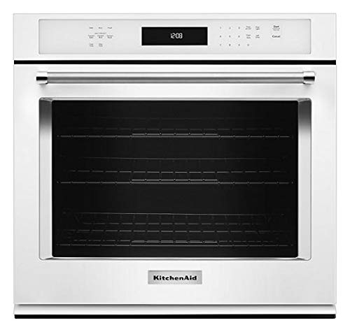 KitchenAid KOSE500EWH 30 Inch Single Electric Wall Oven with 5.0 cu. ft. Even-Heat True Convection Oven, Self-Clean, Preheat, Temperature Conversion, Temperature Probe and Roll-Out Rack (Kitchen Aid Electric Wall Oven)