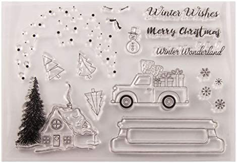 Welcome to Joyful Home 1pc Winter Wishes Merry Christmas Rubber Clear Stamp for Card Making Decoration and Scrapbooking