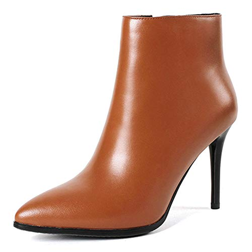 VOCOSI Women's Brown Leather Ankle Boots Thin Heels Pointy Toe Zipper Daily Wear Booties Brown 10.5 US
