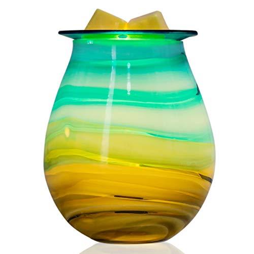 (QUSUP Glass Electric Wax Melt Warmer Incense Wax Tart Burner Fragrance Night Light Aroma Decorative for Home Office Bedroom Living Room Gifts & Decor (Skyline))