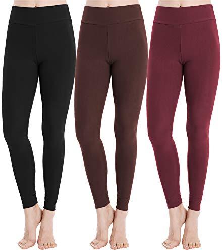 SAYCELI Fleece Lined Leggings for Women High Waist Soft Buttery Slimming Stretch Yoga Pants Color B+M+BN Size Plus
