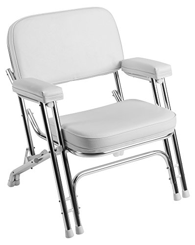 Wise Folding Deck Chair with Aluminum Frame, White ()