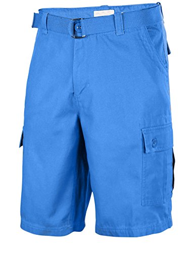 Twill Classic Plain Cotton Multi Pocket Belted Cargo Shorts - 34 - Dodger Blue (Boys Black Belted Jean Shorts)