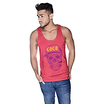 Creo Violet Yellow Coco Skull Tank Top For Men - Xl, Pink