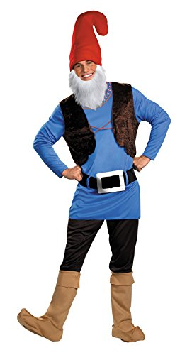 [UHC Men's Papa Gnome Outfit Elf Comical Theme Fancy Dress Adult Costume, STD (42-46)] (Gnome Costume Mens)