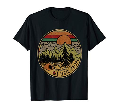 I love Camping i hate people T-Shirt outdoors funny - Hoodie I People Hate
