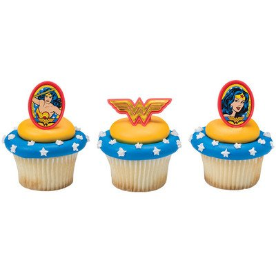 Wonder Woman Amazing Amazon Cupcake Rings - 24 ct (Wonder Woman Party Decorations)