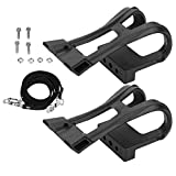 Bicycle Foot Pedal Straps, Bike Plastic Black Adjustable Mountain Road Bike Bicycle Pedals