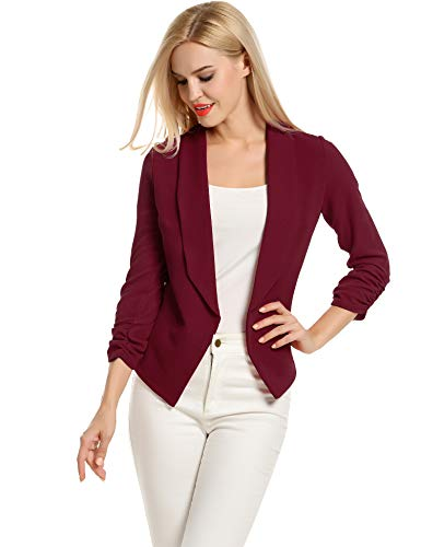 POGT Women 3/4 Sleeve Blazer Open Front Cardigan Jacket Work Office Blazer (M, Wine Red) ()