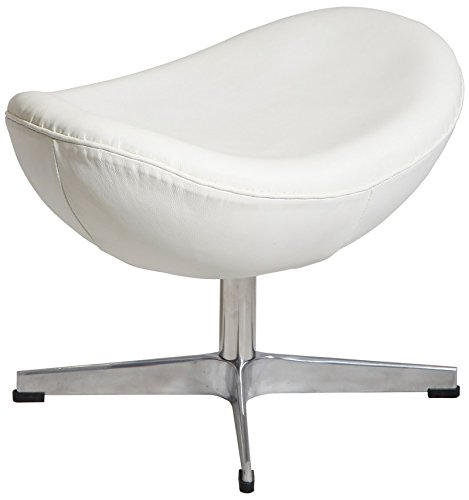 MLF® Arne Jacobsen Egg Chair's Ottoman in Top White/Cream Italian Leather. Famous Modern Design. (5 Colors)