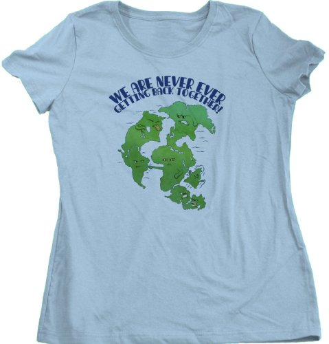 Pangaea Never Getting Back Together Ladies Cut T-shirt Cute, Nerdy Science Tee
