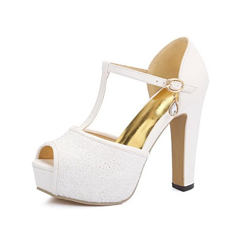 AgooLar Women's Peep Toe High Heels Solid Buckle Sandals White tJkCmxT