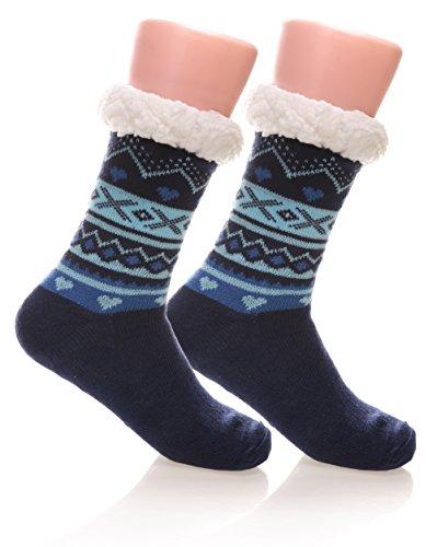 Womens Soft Warm Cozy Fuzzy Fleece Lined Non Skid Christmas Winter Slipper Socks  Blue