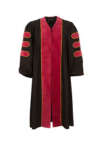 American Doctoral Gown (5'6'' - 5'8'', Black with Maroon velvet + gold piping) by Graduation Attire