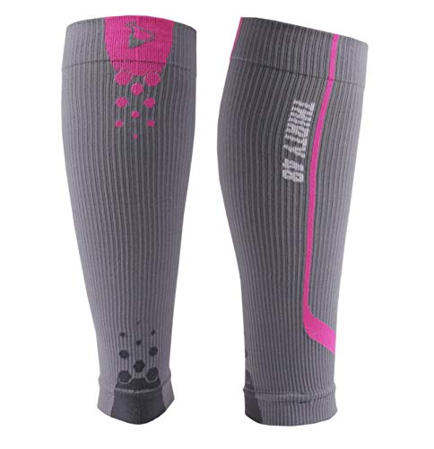 Graduated Compression Sleeves by Thirty48 Cp Series, Calf/Shin Splint Guard Sock; 1 Pair; Maximize Faster Recovery by Increasing Oxygen to Muscles; Great for Running, Cycling, Walking, Basketball, Football Soccer, Cross Fit, Travel; Gray/Pink Small
