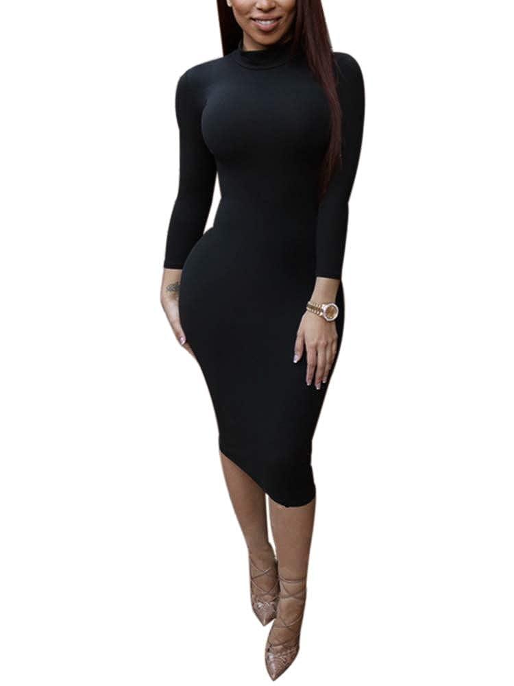 Black Succi Women's Sexy Long Sleeve Turtleneck Stretchy Bodycon Midi Dress SXXL
